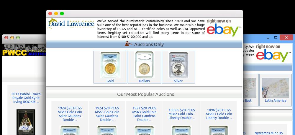 browsers displaying ebay shop